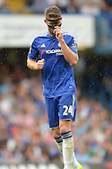 Gary Cahill of Chelsea adjusting his face mask. Barclays Premier League, Chelsea v Crystal Palace at Stamford Bridge in London on Saturday 29th August 2015.<br /> pic by John Patrick Fletcher, Andrew Orchard sports photography.