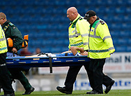 Connor Dimaio of Chesterfield is stretchered off during the EFL Trophy match between Chesterfield and Bradford City at the b2net stadium, Chesterfield, England on 29 August 2017. Photo by Paul Thompson.