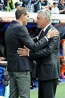Real Madrid´s coach Carlo Ancelotti and Eibar´s coach Gaizka Garitano during 2014-15 La Liga match between Real Madrid and Eibar at Santiago Bernabeu stadium in Madrid, Spain. April 11, 2015. (ALTERPHOTOS/Luis Fernandez)