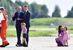 Prince George and Princess Charlotte as they visit Airbus in Hamburg, Germany with their parents, the Duke and Duchess of Cambridge.
