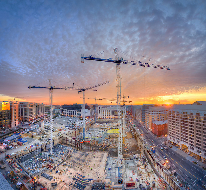 Construction cranes fill the sky over the CityCenterDC site in January of 2012.<br /> Print Size (in inches): 15x14; 24x22; 36x33; 48x44; 60x55; 72x66
