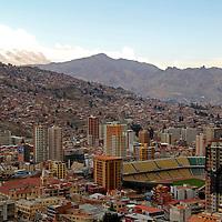 South America, Bolivia, La Paz. Scenic vista of the city of La Paz from Mirador Killi Killi.