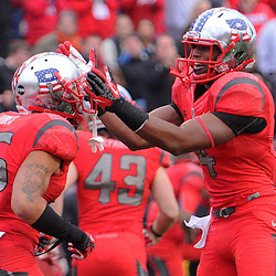 10 November 2012: Rutgers Scarlet Knights defensive back Brandon Jones (25) and wide receiver Leonte Carroo (4) celebrate a blocked punt during NCAA college football action between the Rutgers Scarlet Knights and Army Black Knights at High Point Solutions Stadium in Piscataway, N.J.. Rutgers defeated Army 28-7.