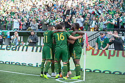 October 21, 2018 - Portland, OR, U.S. - PORTLAND, OR - OCTOBER 21, 2018: Portland Timbers celebrate a goal during the Portland Timbers 3-0 victory over Real Salt lake on October 21, 2018, at Providence Park in Portland, Oregon. (Photo by Diego Diaz/Icon Sportswire) (Credit Image: © Diego Diaz/Icon SMI via ZUMA Press)