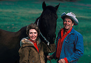 March 6, 2016 - NANCY REAGAN, Ronald Reagan's widow and First Lady from 1981-1989, has died at 94. The cause of death was congestive heart failure. Pictured: RONALD WILSON REAGAN wears a cowboy hat as he stands at the side of his wife NANCY REAGAN as they pose for a picture with one of their horses on the grounds of their ranch residence during Ronald's bid for presidency. <br /> ©Michael Evans/Exclusivepix Media