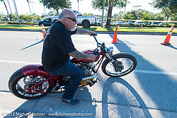 Legendary builder Dave Perewitz on one of his custom Harley-Davidson Knuckelead creations at the Chopper Time Old School Bike Show at Willy's Tropical Tattoo during the Biketoberfest Rally. Ormond Beach, FL, USA. October 15, 2015.  Photography ©2015 Michael Lichter.