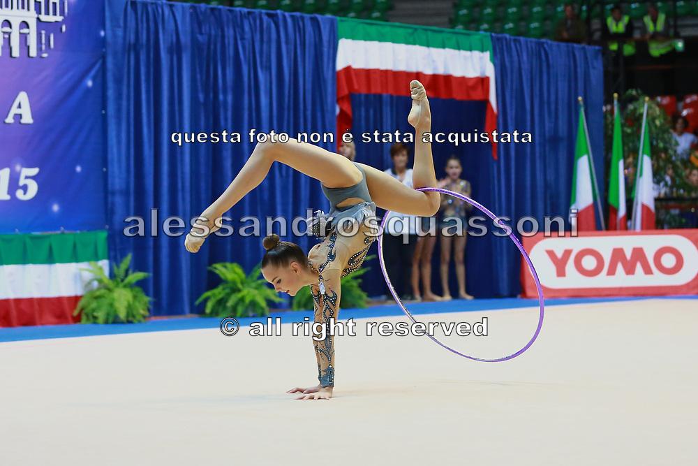 Dina Averina atleta della società Flaminio di Roma durante la seconda prova del Campionato Italiano di Ginnastica Ritmica.<br /> La gara si è svolta a Desio il 31 ottobre 2015.<br /> Dina è una ginnasta di origini russe nata nel 1998.