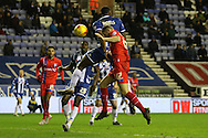 Rory Donnelly scores for Gillingham during the Sky Bet League 1 match between Wigan Athletic and Gillingham at the DW Stadium, Wigan, England on 7 January 2016. Photo by Pete Burns.