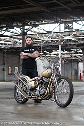 Trevor Kelly with his 1955 custom Harley-Davidson Panhead after the Congregation Show. Charlotte, NC. USA. Sunday April 15, 2018. Photography ©2018 Michael Lichter.