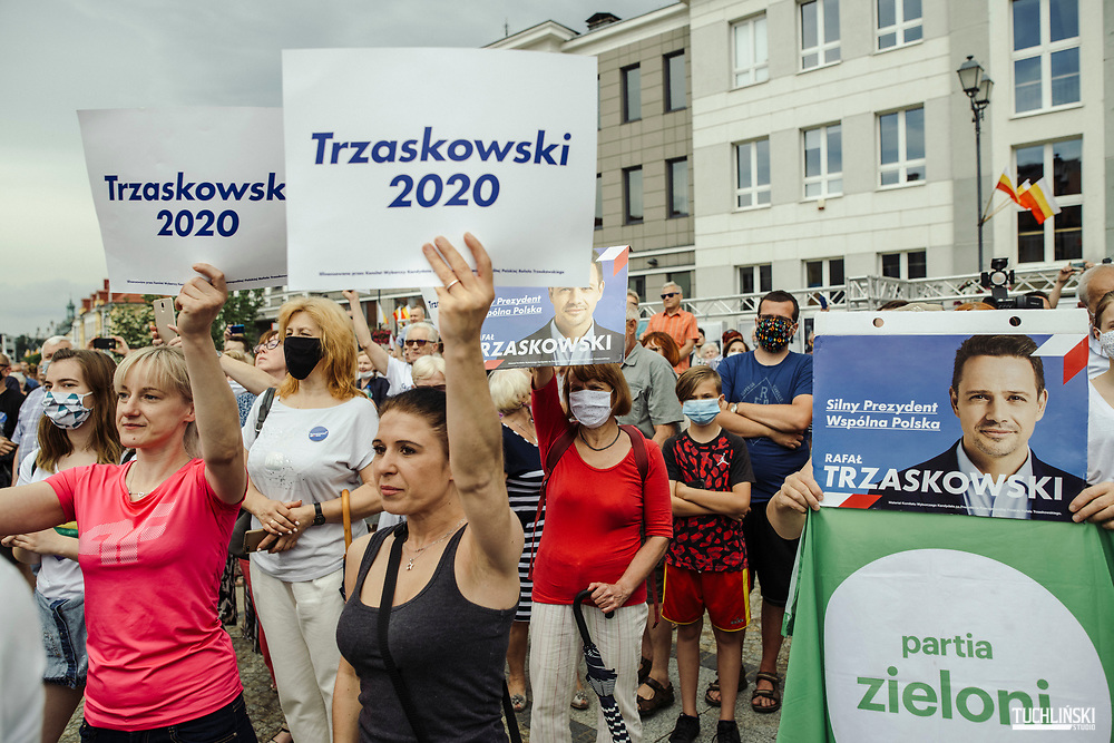 Bialystok, Poland; 22.06.2020 <br /> Rafal Trzaskowski (C), the current Mayor of Warsaw and Civic Platform's candidate for Presidency of Poland, seen during his visit to Bialystok. Trzaskowski's supporters.<br /> Photo by Adam Tuchlinski for Die Zeit