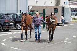 Team Belgium, Jef Desmedt, Fletsche van't Verahof, Lully des Aulnes<br /> Departure of the horses to the Rio Olympics from Liege Airport - Liege 2016<br /> © Hippo Foto - Dirk Caremans<br /> 30/07/16
