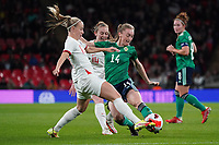 England's Beth Mead is tackled by Northern Ireland's Lauren Wade<br /> <br /> Photographer Stephanie Meek/CameraSport<br /> <br /> FIFA Women's World Cup Qualifying Group D - England Women v Northern Ireland Women - Saturday 23rd October 2021 - Wembley Stadium - London<br /> <br /> World Copyright © 2021 CameraSport. All rights reserved. 43 Linden Ave. Countesthorpe. Leicester. England. LE8 5PG - Tel: +44 (0) 116 277 4147 - admin@camerasport.com - www.camerasport.com