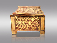 Minoan  pottery coffin chest coffin with gabled lid decorated with a net pattern,  Tylissos-Panokklisia 1350-1250 BC, Heraklion Archaeological  Museum, grey background. .<br /> <br /> If you prefer to buy from our ALAMY PHOTO LIBRARY  Collection visit : https://www.alamy.com/portfolio/paul-williams-funkystock/minoan-art-artefacts.html . Type -   Heraklion   - into the LOWER SEARCH WITHIN GALLERY box. Refine search by adding background colour, place, museum etc<br /> <br /> Visit our MINOAN ART PHOTO COLLECTIONS for more photos to download  as wall art prints https://funkystock.photoshelter.com/gallery-collection/Ancient-Minoans-Art-Artefacts-Antiquities-Historic-Places-Pictures-Images-of/C0000ricT2SU_M9w