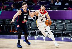 Nando de Colo of France vs Karsten Tadda of Germany during basketball match between National Teams of Germany and France at Day 10 in Round of 16 of the FIBA EuroBasket 2017 at Sinan Erdem Dome in Istanbul, Turkey on September 9, 2017. Photo by Vid Ponikvar / Sportida