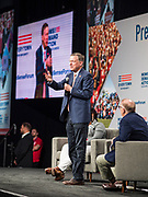 10 AUGUST 2019 - DES MOINES, IOWA: Governor JOHN HICKENLOOPER, (D-CO), a Democratic Presidential candidate, answers questions from gun violence survivors at the Presidential Gun Sense Forum. Several thousand people from as far away as Milwaukee, WI, and Chicago, came to Des Moines Saturday for the Presidential Gun Sense Forum. Most of the Democratic candidates for president attended the event, which was organized by Moms Demand Action, Every Town for Gun Safety, and Students Demand Action.          PHOTO BY JACK KURTZ