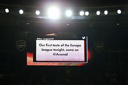 14 September 2017 -  UEFA Europa League (Group H) - Arsenal v FC Koln - A message on the giant screen announcing Arsenal first taste of the Europa League - Photo: Marc Atkins/Offside