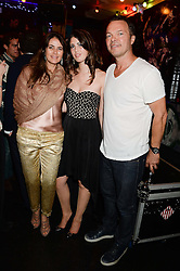 Left to right, CAROLINA TONG, STEPHANIE CAVALCANTI and PETE TONG at the launch of Artegee held at The Wellington Club, 116A Knightsbridge, London on 11th June 2013.