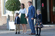 Doop Willem Jan ( 01-07-2013), zoon van Prins Floris en Prinses Aimee oppaleis het Loo<br /> <br /> Christening of Willem Jan ( 01-07-2013), son of Prince Floris and Princess Aimee on palace het Loo<br /> <br /> Op de foto / On the photo: Prins Pieter-Christiaan en Prinses Anita en Emma en Pieter / Prince Pieter-Christiaan and Princess Anita and Emma and Pieter