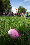 A pink dyed egg sits in the grass as hundreds of children wait for the Easter Egg Hunt to begin at Christ Community Church in Milpitas, California, on March 30, 2013. (Stan Olszewski/SOSKIphoto)