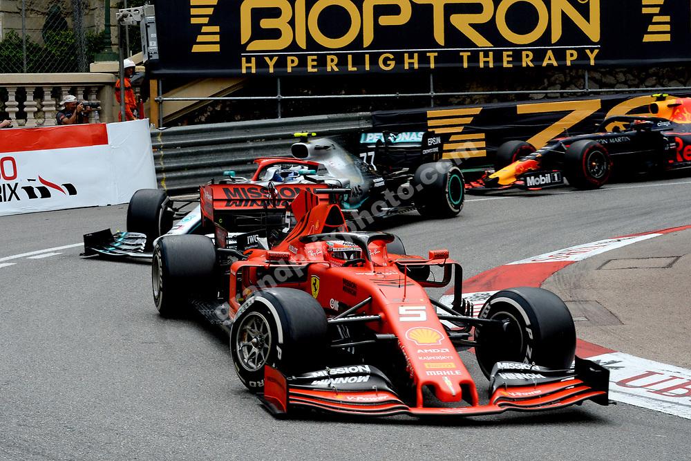 Sebastian Vettel (Ferrari) leading Valtteri Bottas (Mercedes) and Pierre Gasly (Red Bull-Honda) during the 2019 Monaco Grand Prix. Photo: Grand Prix Photo