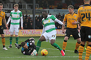 Yeovil's Francois Zoko wins the ball in the box but is denied by Newport's keeper Joe Day. Skybet football league two match, Newport county v Yeovil Town at Rodney Parade in Newport, South Wales on Saturday 21st November 2015.<br /> pic by David Richards, Andrew Orchard sports photography.