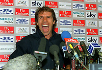 Gianfranco Zola (Chelsea) says farewell at a Press Conference @ Stamford Bridge. 7/7/2003. Credit : Colorsport/Andrew Cowie.