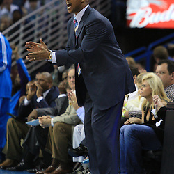 06 February 2009:  New Orleans Hornets coach Byron Scott instructs his team during a 101-92 win by the New Orleans Hornets over the Toronto Raptors at the New Orleans Arena in New Orleans, LA.