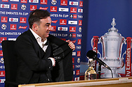 """Swansea city manager Carlos Carvalhal speaks to the media after the match and as he answers one journalists question he reveals inside his suit jacket he has the words written '"""" Manager Carlos Carvalhal had a dream """". The Emirates FA Cup, 5th round replay match, Swansea city v Sheffield Wednesday at the Liberty Stadium in Swansea, South Wales on Tuesday 27th February 2018.<br /> pic by  Andrew Orchard, Andrew Orchard sports photography."""