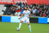 Jordi Amat of Swansea city in action. Premier league match, Swansea city v Hull city at the Liberty Stadium in Swansea, South Wales on Saturday 20th August 2016.<br /> pic by Andrew Orchard, Andrew Orchard sports photography.