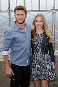 April 9, 2015 - New York, NY, USA - April 9, 2015 <br /> <br /> The Longest Ride at the Empire State Building<br /> <br /> Scott Eastwood and Britt Robertson from the movie ''The Longest Ride'' at the Empire State Building observatory on April 9, 2015 in New York City  <br /> ©Exclusivepix Media
