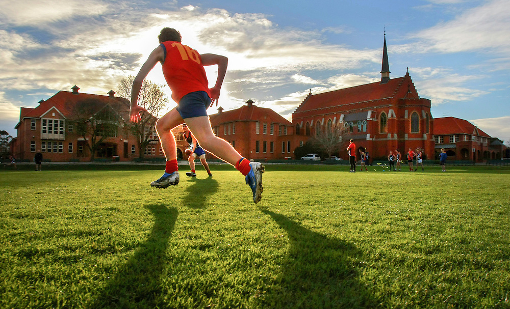 Scotch College football team in training for the 150th aniversary match of the first every game of Australian rules football  between Scotch and Melbourne Grammar  Pic By Craig Sillitoe  31/07/2008 SPECIALX 000..150th anniversary match Scotch College and Melbourne Grammar This photograph can be used for non commercial uses with attribution. Credit: Craig Sillitoe Photography / http://www.csillitoe.com<br /> <br /> It is protected under the Creative Commons Attribution-NonCommercial-ShareAlike 4.0 International License. To view a copy of this license, visit http://creativecommons.org/licenses/by-nc-sa/4.0/.