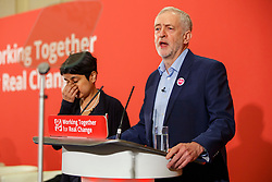 © Licensed to London News Pictures. 10/12/2016. London, UK. Labour leader and the leader of opposition JEREMY CORBYN and Shadow Attorney General Shami Chakrabarti speak on human rights at the Methodist Central Hall in Westminster, London on Saturday, 10 December 2016. Photo credit: Tolga Akmen/LNP