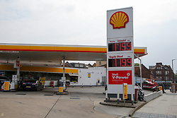 © Licensed to London News Pictures. 27/04/2020. London, UK. Shell petrol station in East London sells unleaded petrol below £1.16 per litre and diesel below £1.20 per litre following oil price drop. Photo credit: Dinendra Haria/LNP