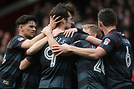Doncaster players celebrate after John Marquis of Doncaster Rovers (c)  scores their second goal. EFL Skybet Football League two match, Leyton Orient v Doncaster Rovers at the Matchroom Stadium, Brisbane Road in Leyton, London on Saturday 18th March 2017.<br /> pic by Steffan Bowen, Andrew Orchard sports photography.