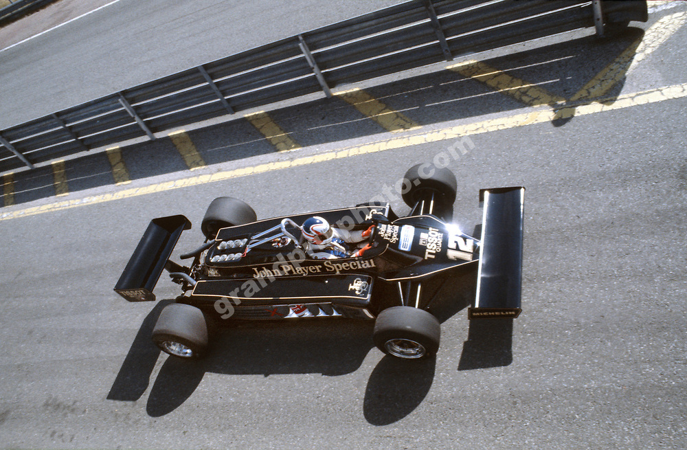 NIgel Mansell (Lotus-Ford) seen from above during practice for the 1981 Spanish Grand Prix in Jarama. Photo: Grand Prix Photo