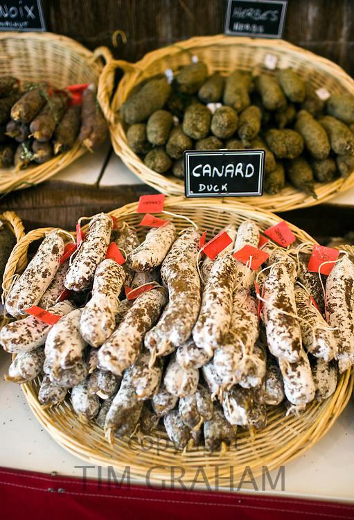 Duck sausage, saucisson canard, on sale in Brantome in North Dordogne, France