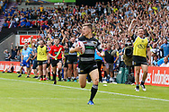 Hull FC full back Jamie Shaul (1) scores a try during the Challenge Cup 2017 semi final match between Hull RFC and Leeds Rhinos at the Keepmoat Stadium, Doncaster, England on 29 July 2017. Photo by Simon Davies.