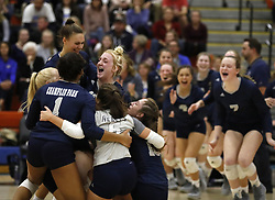 November 1, 2018 - Osseo, MN, U.S. - Champlin Park players celebrated their 3-0 win over Wayzata on November 1, 2018, in Osseo, Minn. ] RENEE JONES SCHNEIDER Â¥ renee.jones@startribune.com The Class 3A, Section 5 championship match between Wayzata and Champlin Park. (Credit Image: © Renee Jones Schneider/Minneapolis Star Tribune via ZUMA Wire)