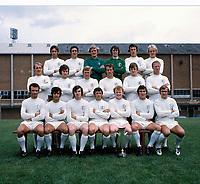 Football - 1971 - 1972 Leeds United Photocall at Elland road.<br />   <br /> Leeds United team group<br /> <br /> Back row l-r. Rod Belfit, Norman Hunter, Gary Sprake, David Harvey, 'Jimmy' James (Sean) O'Neill, Terry Yorath.<br /> Middle row > John Faulkner,'Chris Galvin, O'Neill, Mick Jones , Paul Madeley, Alan Clarke, Jack Charlton.<br /> Sitting - Paul Reaney, Mick Bates, Peter Lorimer, Johnny Giles, Billy Bremner, Nigel Davey, Terry Cooper.