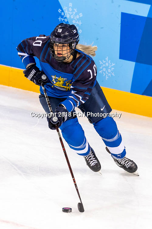 Linda Valimaki (FIN) #10 during USA-FInland Women's Hockey competition at the Olympic Winter Games PyeongChang 2018