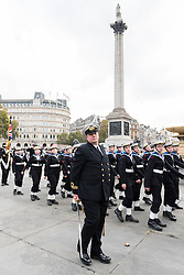 © Licensed to London News Pictures. 23/10/2016. London, UK. Trafalgar Day is celebrated by Sea Cadets with a ceremony in Trafalgar Square, followed by a march down The Mall.  Trafalgar Day celebrates the victory won by the Royal Navy, commanded by Vice-Admiral Horatio Nelson, over the combined French and Spanish fleets at the Battle of Trafalgar on 21 October 1805. Photo credit : Stephen Chung/LNP