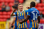 Goalscorer Shrewsbury Town forward Lenell John-Lewis (14) celebrates with Shrewsbury Town Greg Docherty (8) taking the score to 1-1 during the EFL Sky Bet League 1 match between Charlton Athletic and Shrewsbury Town at The Valley, London, England on 11 August 2018.