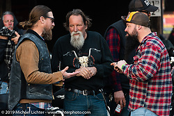Ricky Lewis and friends at the Iron Horse Saloon during Daytona Bike Week. Ormond Beach, FL. USA. Monday March 12, 2018. Photography ©2018 Michael Lichter.