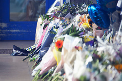 ©Licensed to London News Pictures 28/09/2020  <br /> Croydon, UK. Sgt Ratana's flat peaked police cap. Flowers for Sgt Matt Ratana at Croydon Custody Centre. The murder investigation continues after the death of police sergeant Matt Ratana at the Croydon Custody Centre in South London last week. Photo credit:Grant Falvey/LNP