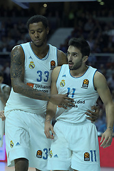 December 14, 2017 - Madrid, Spain - TREY THOMPKINS and FACUNDO CAMPAZZO  of Real Madrid during the 2017/2018 Turkish Airlines Euroleague Regular Season Round 12 game between Real Madrid v FC Barcelona Lassa at Wizink Arena on December 14, 2017 in Madrid, Spain  (Credit Image: © Oscar Gonzalez/NurPhoto via ZUMA Press)