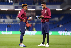 West Ham United's Grady Diangana (left) inspects the pitch prior to the match kick off