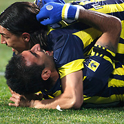 Fenerbahce's Mehmet TOPUZ (R) and Selcuk SAHIN (L) during their Turkish Superleague Derby match Besiktas between Fenerbahce at the Inonu Stadium at Dolmabahce in Istanbul Turkey on Sunday, 20 February 2011. Photo by TURKPIX