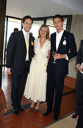 Left to right, LORD FREDERICK WINDSOR, LADY KINVARA BALFOUR and the HON.ALEXANDER SPENCER-CHURCHILL at the 4th day of the 2005 Glorious Goodwood horseracing festival at Goodwood Racecourse, West Sussex on 29th July 2005.    <br /><br />NON EXCLUSIVE - WORLD RIGHTS