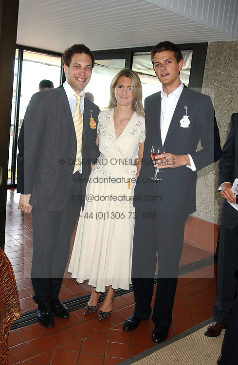 Left to right, LORD FREDERICK WINDSOR, LADY KINVARA BALFOUR and the HON.ALEXANDER SPENCER-CHURCHILL at the 4th day of the 2005 Glorious Goodwood horseracing festival at Goodwood Racecourse, West Sussex on 29th July 2005.    <br />