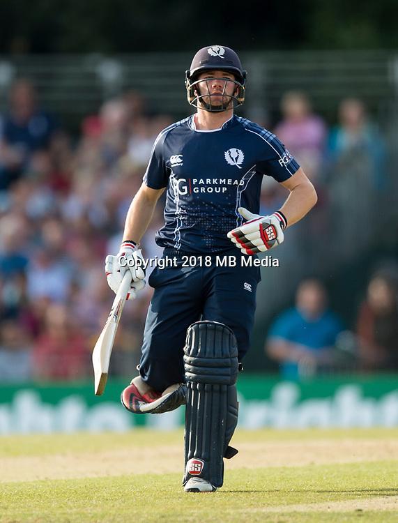 EDINBURGH, SCOTLAND - JUNE 12: Scotland's Matthew Cross in the first of 2 Twenty20 Internationals at the Grange Cricket Club on June 12, 2018 in Edinburgh, Scotland. (Photo by MB Media/Getty Images)